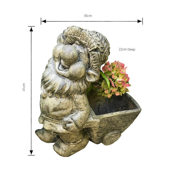 Statue - Gnome Flower Pot Cart with dimensions