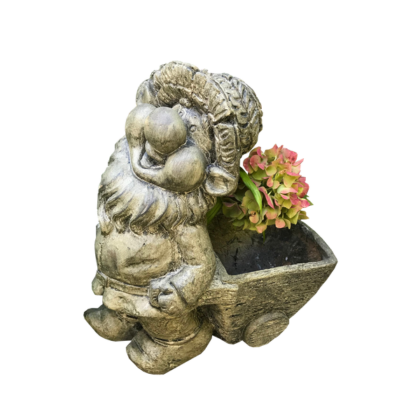 Statue - Gnome Flower Pot Cart