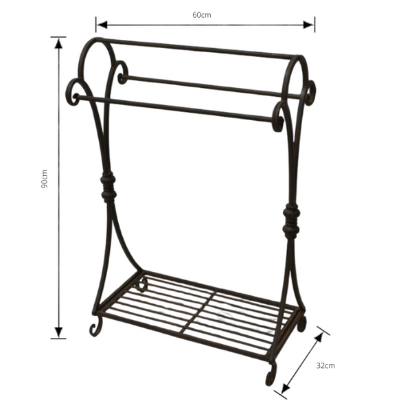 Metal Rust Towel Rail Rack Stand with dimensions