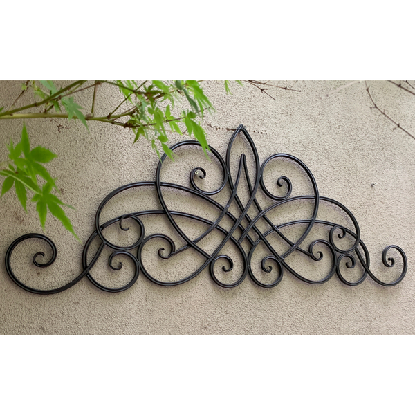 Metal Abstract Wall Decor - Decorative Antique Dark Brown  in garden on a wall