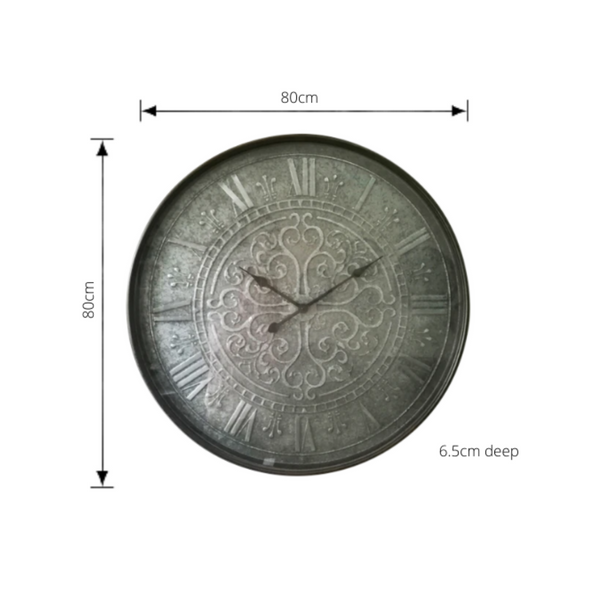 metal clock with roman numerals on brushed steel face with dimensions