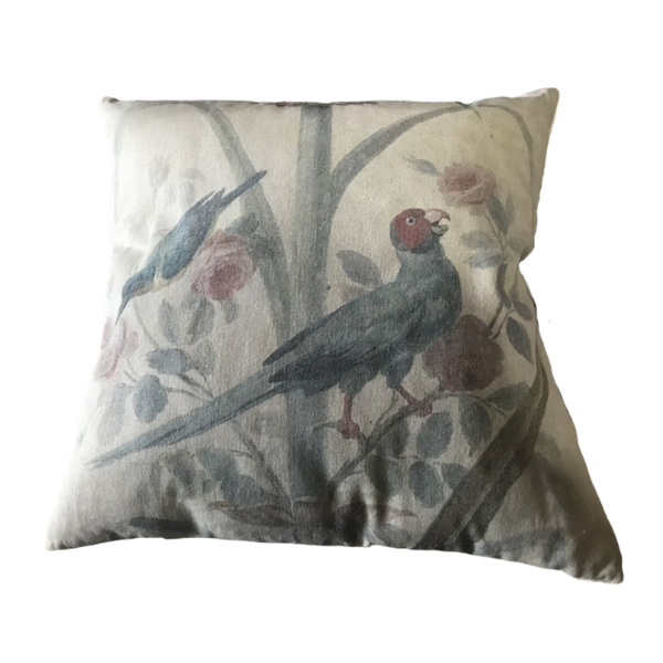 Cushion Filled Print on Fabric Unique Vintage King Parrot Birdlife