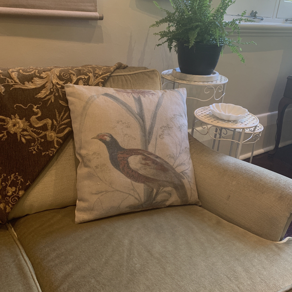 Cushion Filled Print on Fabric Unique Vintage Pheasant Birdlife