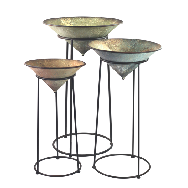 Set of 3 Metal Bowl with Stand Candle Plant Display Decorative Antique Home Decor
