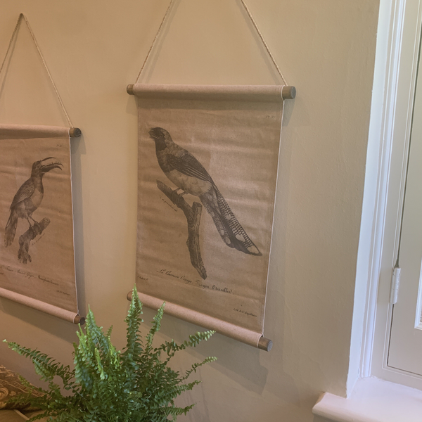 Wall Hanging Scroll, Print on Fabric Unique Vintage Birdlife A hanging on the wall