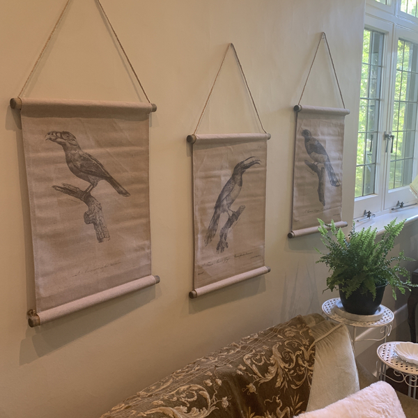 Wall Hanging Scroll, Print on Fabric Unique Vintage Birdlife B hanging with two other scrolls