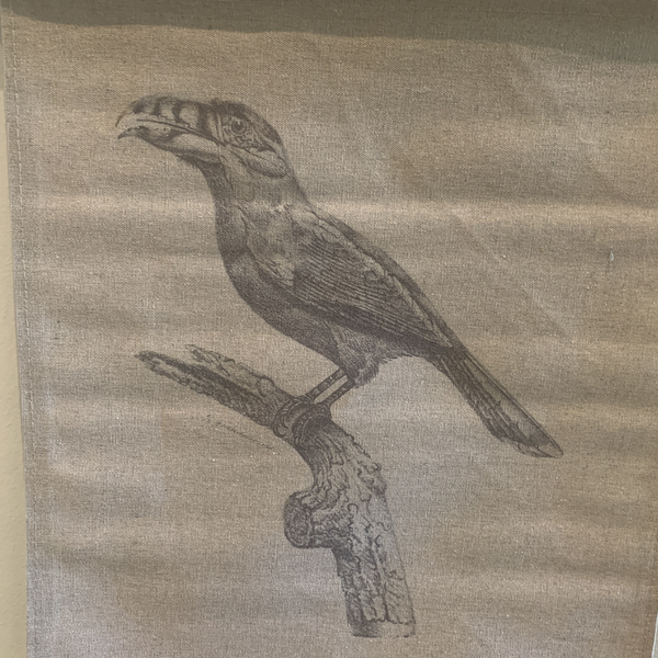 Wall Hanging Scroll, Print on Fabric Unique Vintage Birdlife B up close detail of the bird
