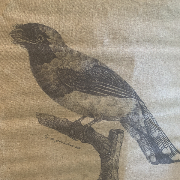 Wall Hanging Scroll, Print on Fabric Unique Vintage Birdlife A up close detail