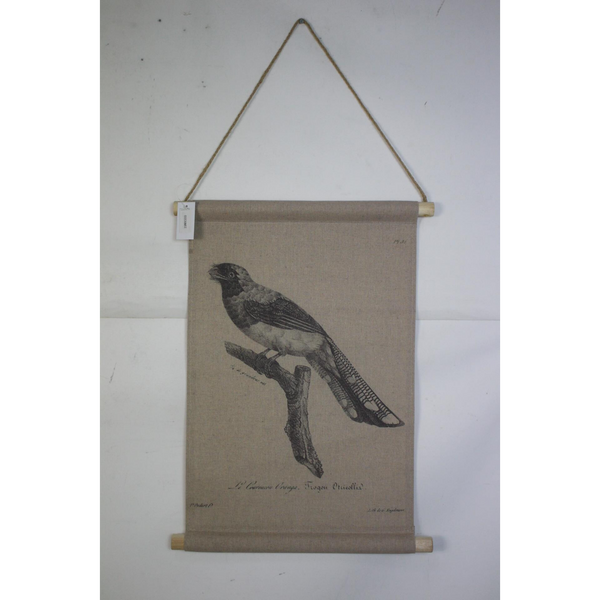 Wall Hanging Scroll, Print on Fabric Unique Vintage Birdlife A