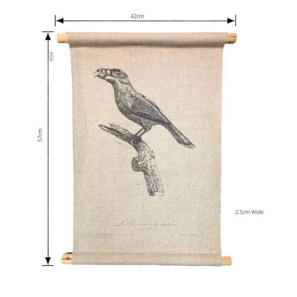 Wall Hanging Scroll, Print on Fabric Unique Vintage Birdlife B with dimensions