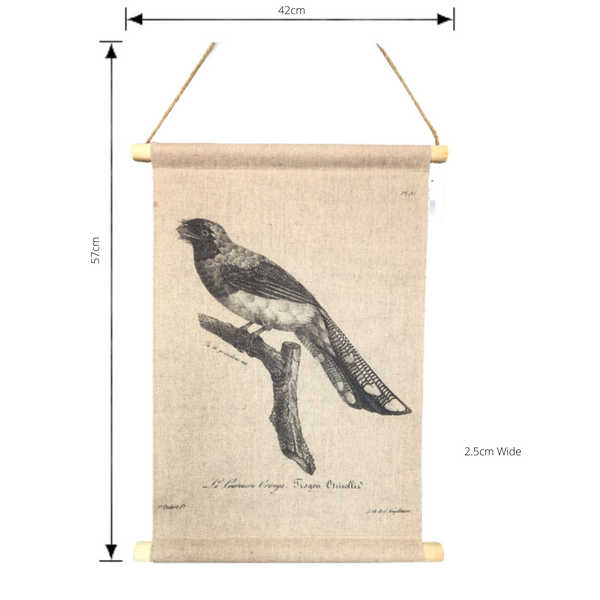 Wall Hanging Scroll, Print on Fabric Unique Vintage Birdlife A with dimensions
