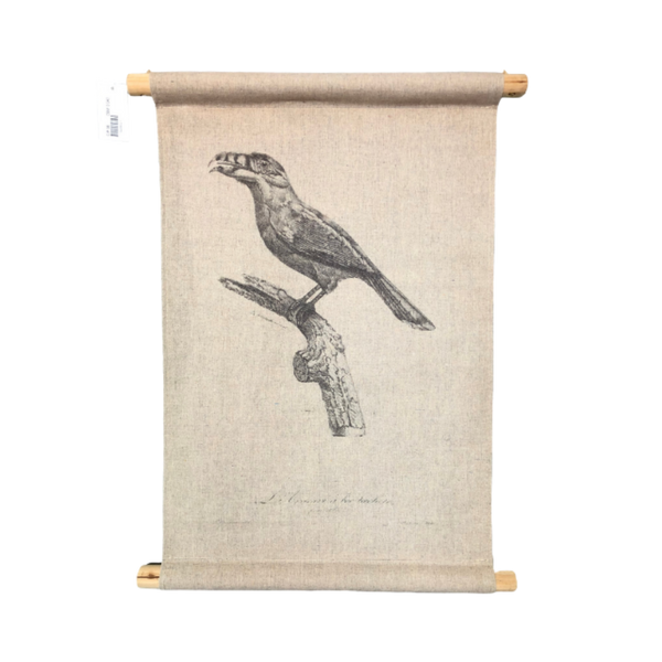Wall Hanging Scroll, Print on Fabric Unique Vintage Birdlife B