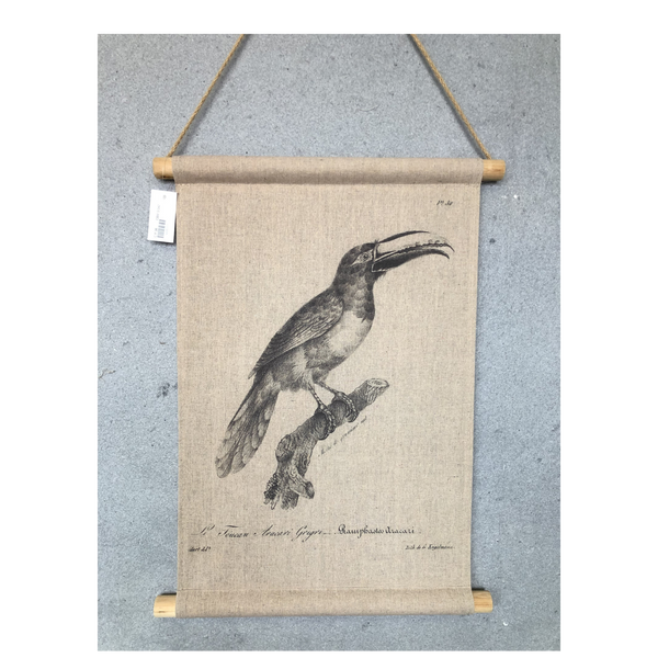 Wall Hanging Scroll, Print on Fabric Unique Vintage Birdlife C
