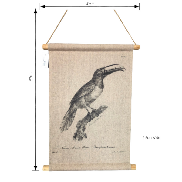 Wall Hanging Scroll, Print on Fabric Unique Vintage Birdlife C  with dimensions