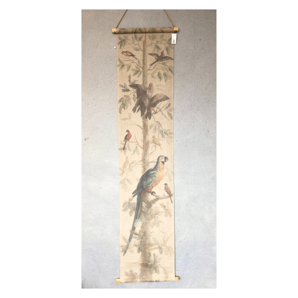 Wall Hanging Scroll, Print on Fabric Unique Vintage Parrot Blue Birdlife hanging inside