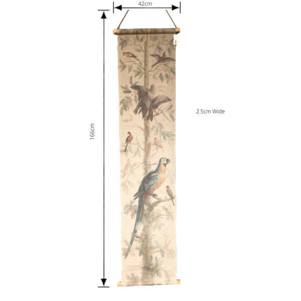 Wall Hanging Scroll, Print on Fabric Unique Vintage Parrot Blue Birdlife with dimensions