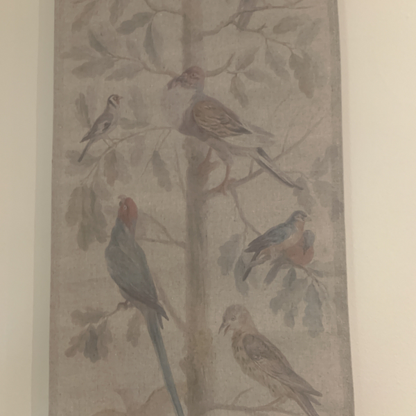 Wall Hanging Scroll, Print on Fabric Unique Vintage Parrot Red Birdlife up close of scroll detail