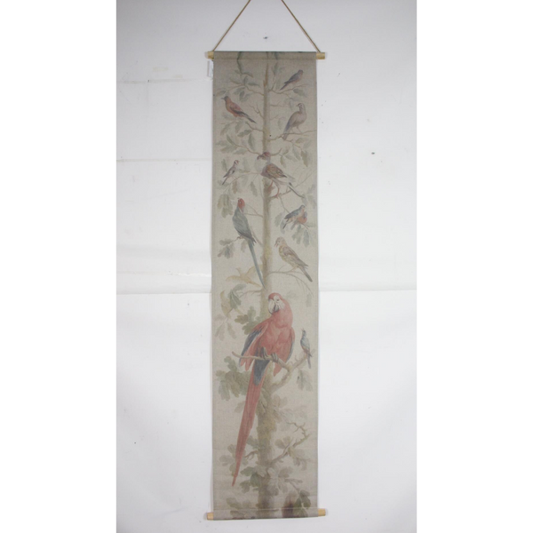 Wall Hanging Scroll, Print on Fabric Unique Vintage Parrot Red Birdlife hanging on the wall inside