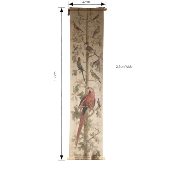 Wall Hanging Scroll, Print on Fabric Unique Vintage Parrot Red Birdlife with dimensions