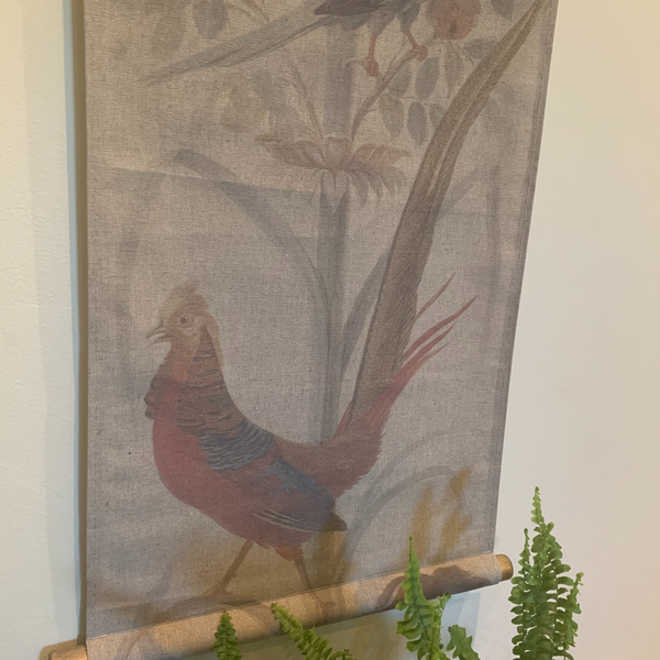 Wall Hanging Scroll, Print on Fabric Unique Vintage Crested Pheasant Birdlife up close bottom of the scroll