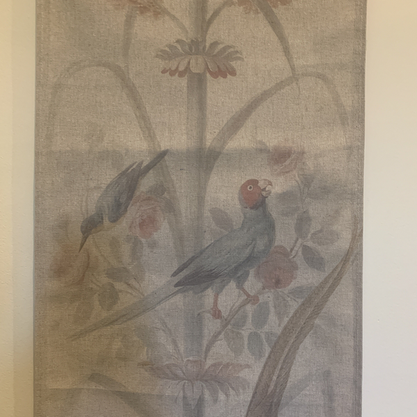 Wall Hanging Scroll, Print on Fabric Unique Vintage Crested Pheasant Birdlife up close middle of the scroll