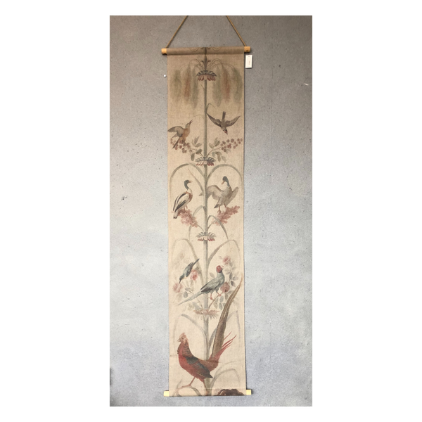 Wall Hanging Scroll, Print on Fabric Unique Vintage Crested Pheasant Birdlife