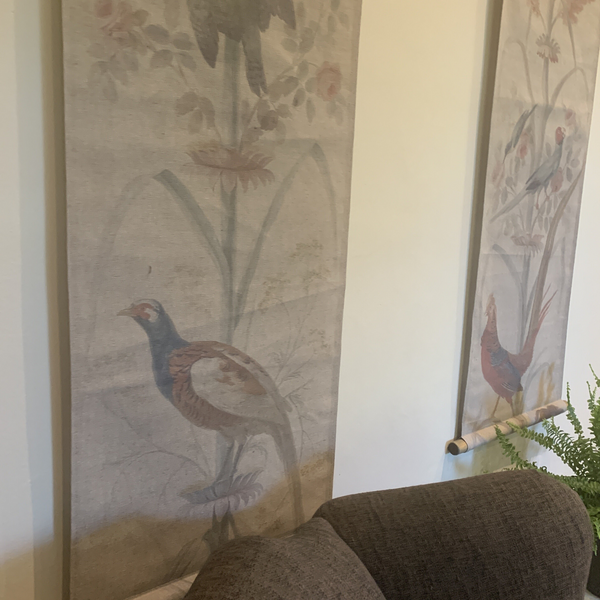 Wall Hanging Scroll, Print on Fabric Unique Vintage Pheasant Birdlife hanging