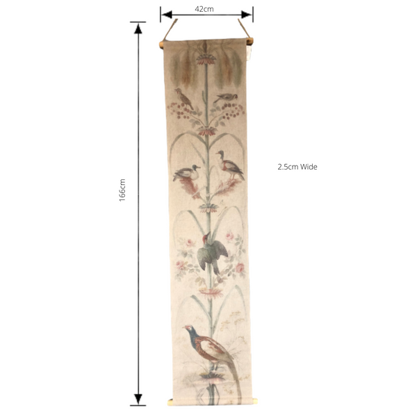 Wall Hanging Scroll, Print on Fabric Unique Vintage Pheasant Birdlife with dimensions