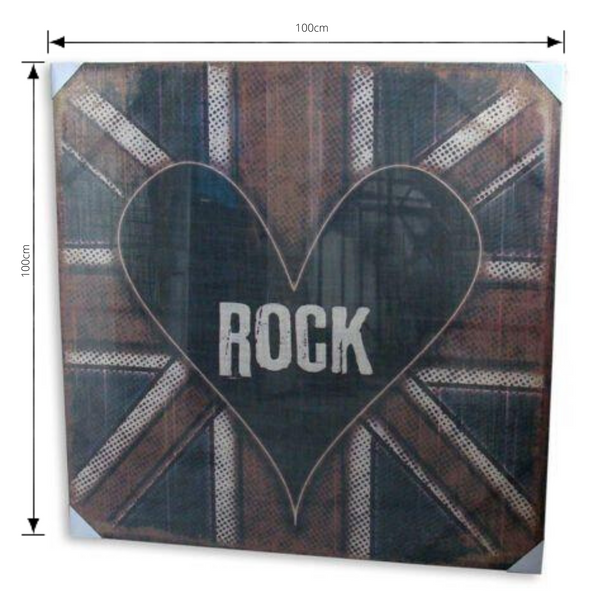 Print Heart On A Flag Artwork Hessian Stretched Wood Frame with dimensions
