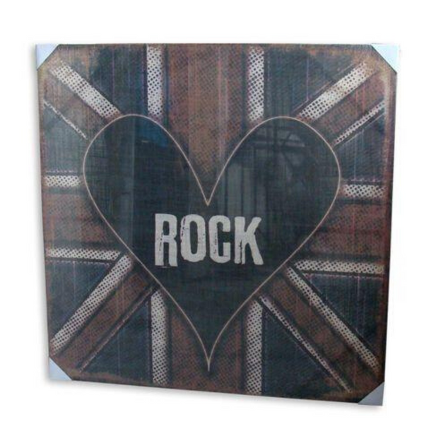 Print Heart On A Flag Artwork Hessian Stretched Wood Frame