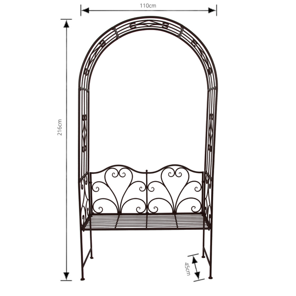 Garden Arch with Bench Seat Rustic Brown