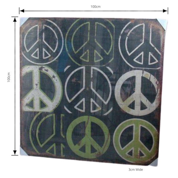 Print, Peace Artwork Hessian Jute Stretched Wood Frame with dimensions