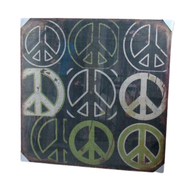 Print, Peace Artwork Hessian Jute Stretched Wood Fram