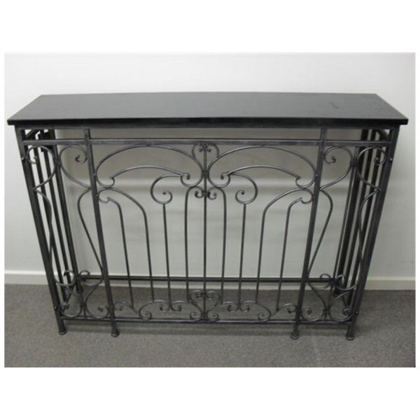Granite hall table with wrought iron base, 120cm
