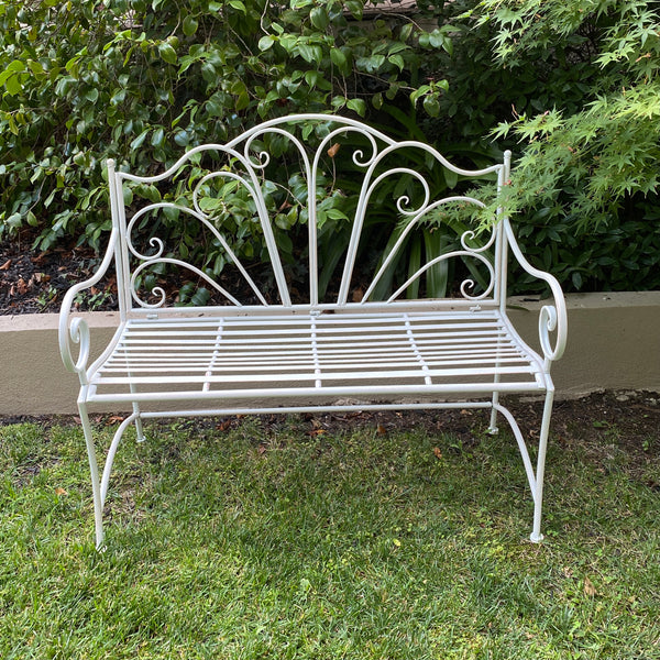 Garden Bench Metal Seat, Ava, Cream