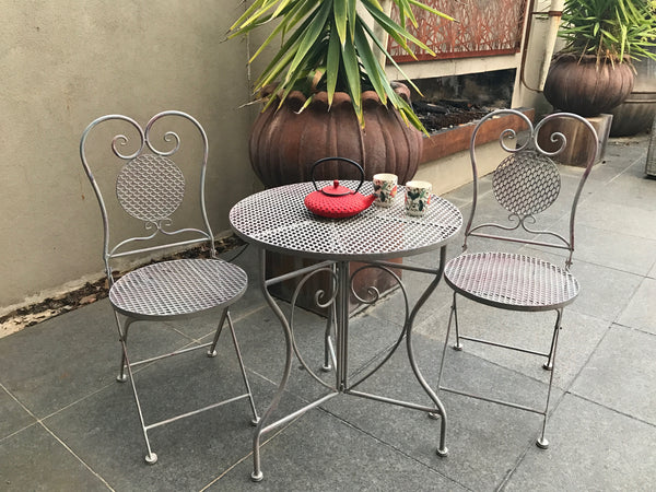 AVA 3 PCE PATIO SETTING ANTIQUE TAUPE 60cm table
