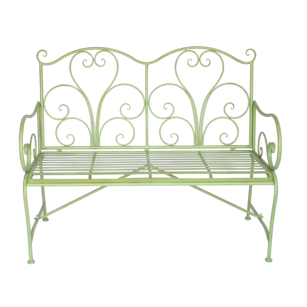 Garden Bench Adele Metal Green Brush
