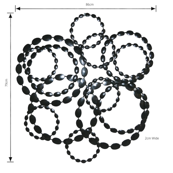 Metal Wall Decor, Circled Abstract Shiny Black with dimensions
