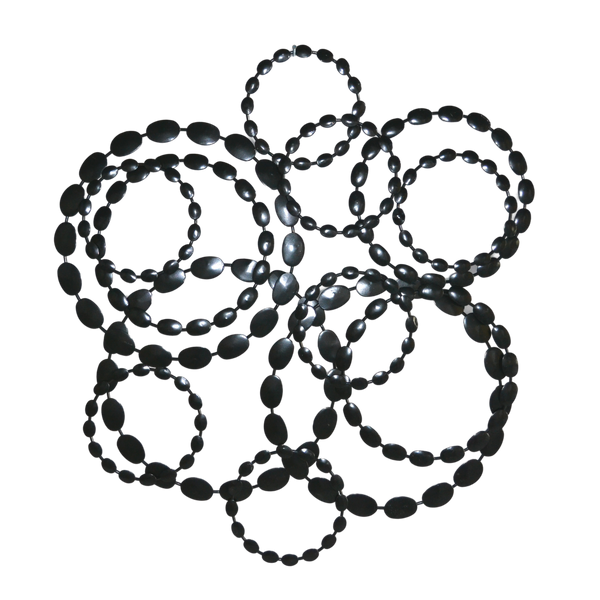 Metal Wall Decor, Circled Abstract Shiny Black