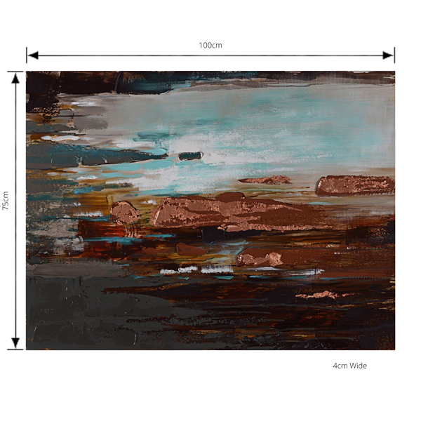 Painting Rock Pools Print Artwork Stretched Wood Frame with dimensions