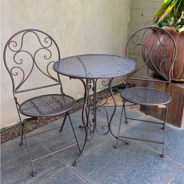 Patio Setting - Chloe, Brown, Metal 3 Piece Garden Setting in the garden