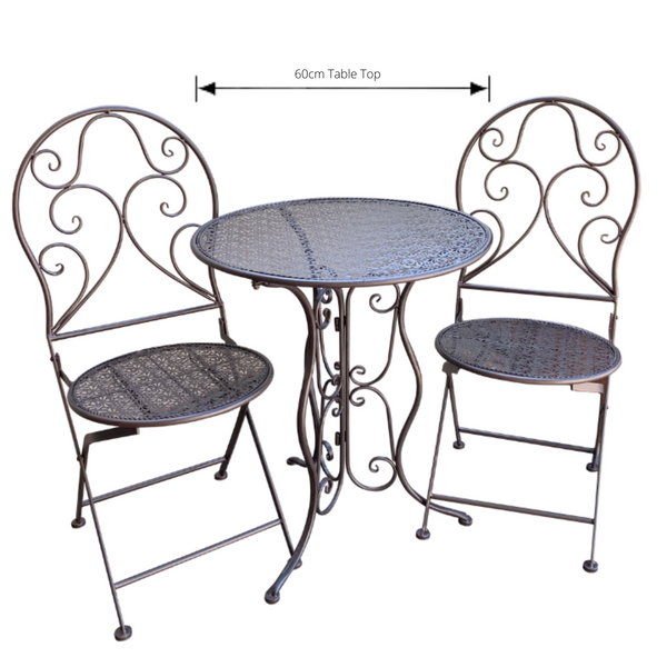 Patio Setting - Chloe, Brown, Metal 3 Piece Garden Setting with dimensions