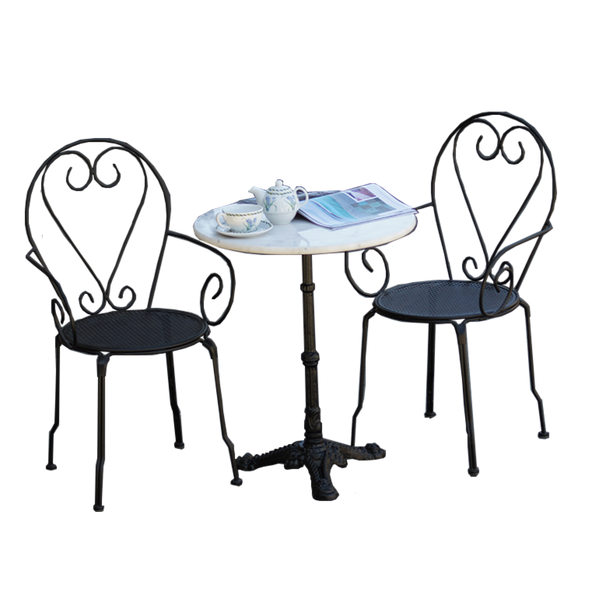 Outdoor patio setting Bella, marble top and cast iron base with 2 chairs with arms in black