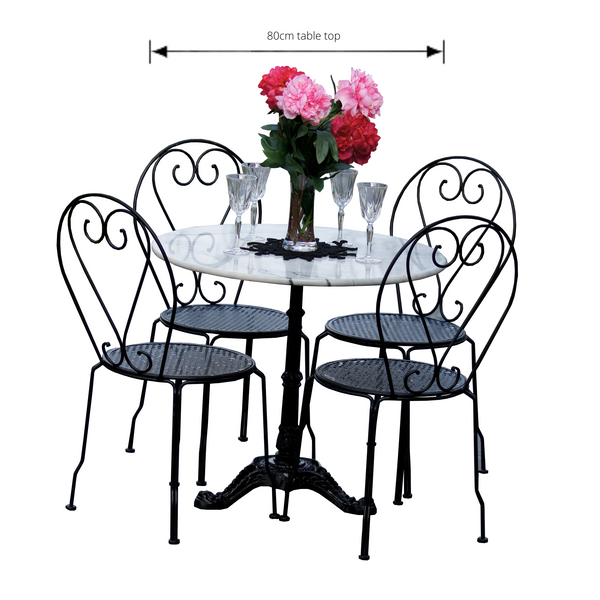 Outdoor patio setting Bella, marble top and cast iron base with 4 chairs in black. Pictured with dimensions