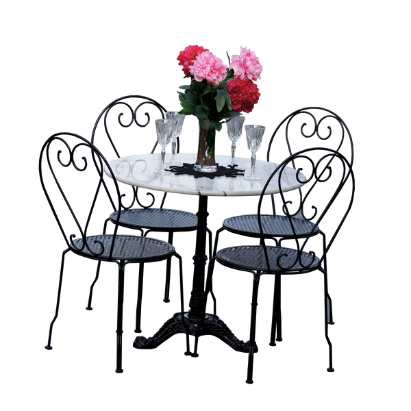 Outdoor patio setting Bella, marble top and cast iron base with 4 chairs  in black
