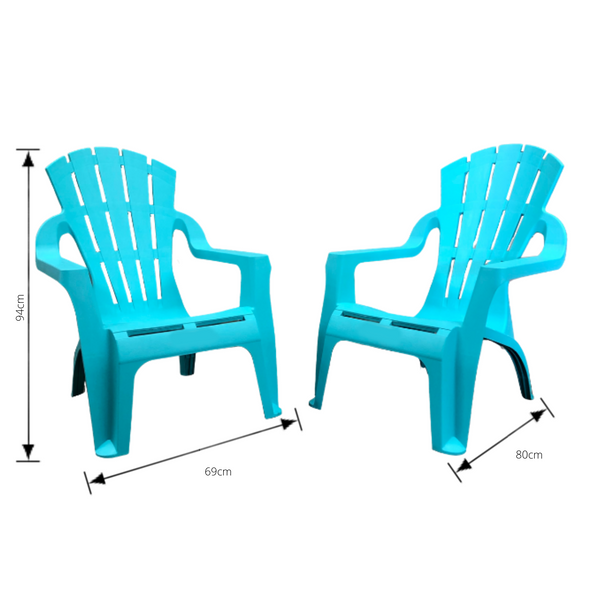set of 4 aqua adirondack chairs made from pu/plastic with dimensions