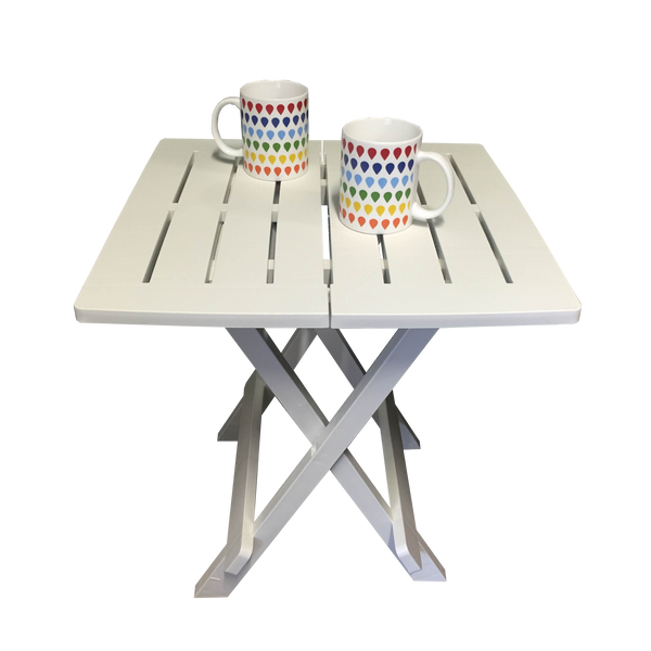 Patio Side Table White Plastic Bistro Balcony Pool Deck Garden Furniture Outdoor Home Decor45x43x51cm high