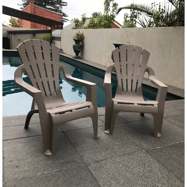 Chair Adirondack Replica Italia Deck Lounge Pool Plastic Outdoor Garden Taupe SET 4