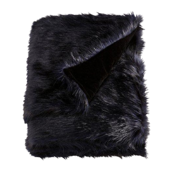 Throw Rug Blanket Sofa Bed Faux Fur - Polar Black
