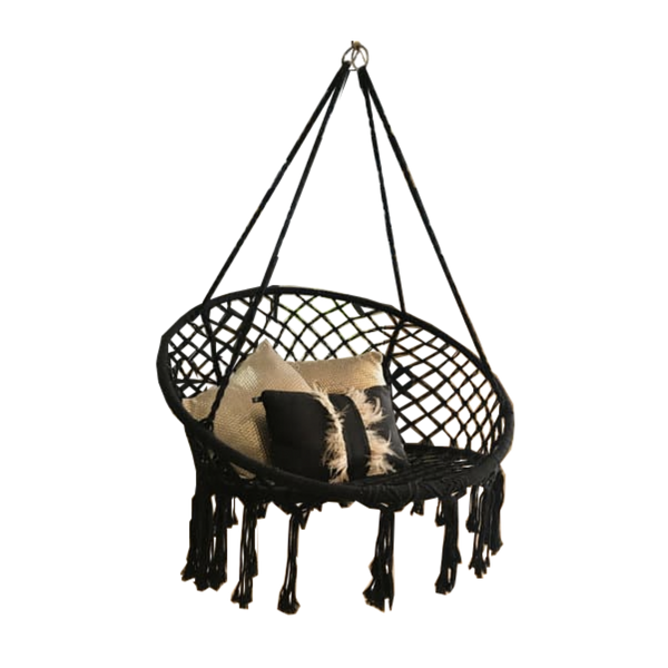 Macrame Hanging chair. Made from woven black cotton,